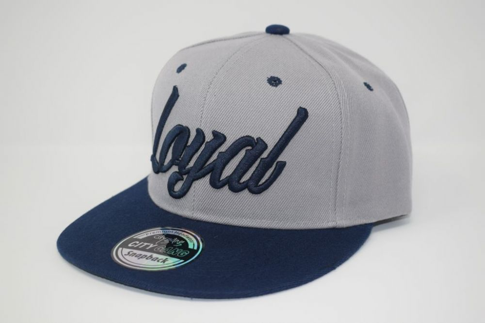C4879-'Loyal' Navy/Grey Snapback caps, one size fits all adjustable